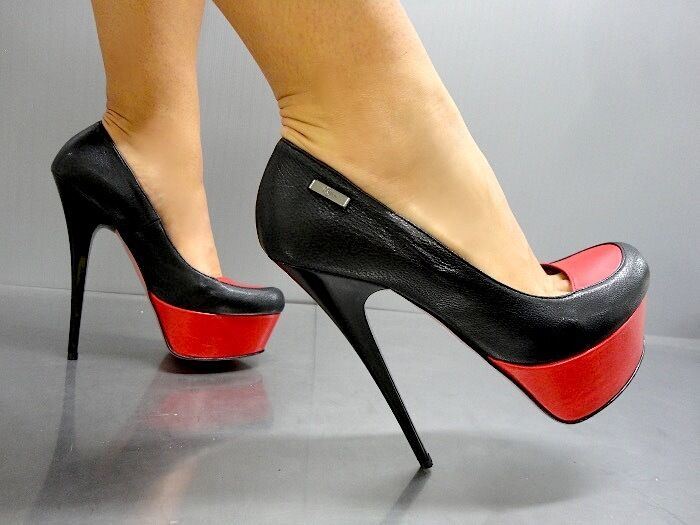 Descuento barato MORI ITALY PLATFORM HIGH HEEL PUMPS SCHUHE SHOES LEATHER BLACK NERO RED ROSSO 40