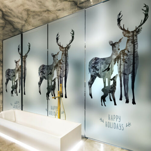 Deer family Static Cling Glass Window Film Privacy Frosted Opaque Glass Sticker