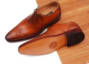 Men-039-s-Handmade-Cuir-Veritable-Richelieu-a-Chaussures-Tan-Lustre-medaillon-Chaussures