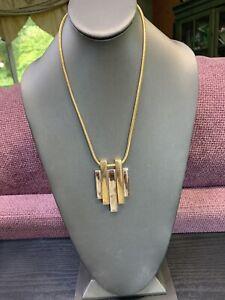 "Vintage Signed Avon Necklace Silver Gold Tone Chunky Pendant Pendant 18"""