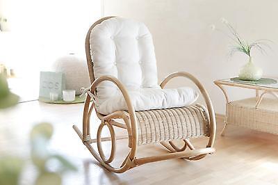 Rattan Schaukelstuhl inkl. Auflage Relaxsessel Schwingstuhl Sessel Farbe: Beige