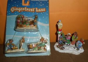 Lot-of-4-Train-Christmas-Village-Figures-Gingerfrost-Lane-Very-nice-cc