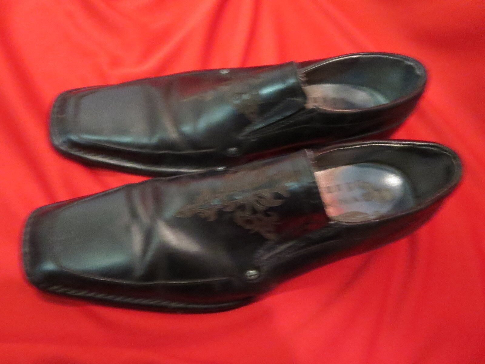 MARK NASON Black Lounge Lizard U ROCK Cross Symbol Wing Tip shoes 9.5 91 2