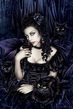 VICTORIA FRANCES ~ BLACK CAT 24x36 ART POSTER Cats Rose Vampire NEW/ROLLED!