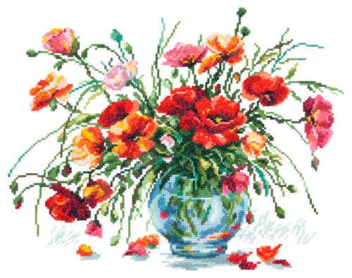 40-39 KIT Punto croce papavero BOUQUET art