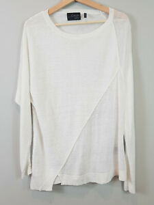 LINE-By-JOHN-amp-JENN-Womens-White-Linen-Sweater-Top-Size-M-or-AU-12-US-8