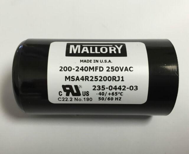 200uF-240uF Start Capacitor 250VAC motor pump 200-240uF Mallory BMI