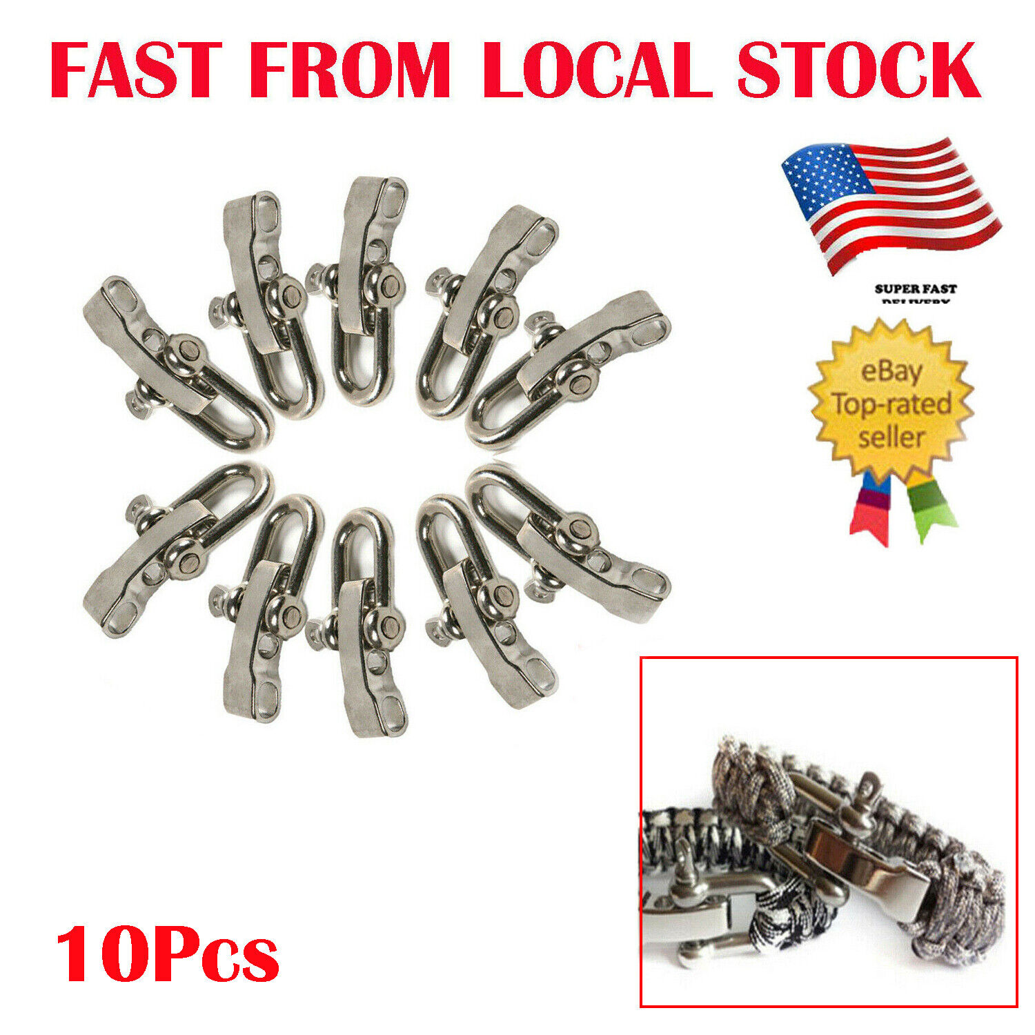 Stainless Adjustable Buckle Paracord Survival Bracelet Shackle W// Compass KY
