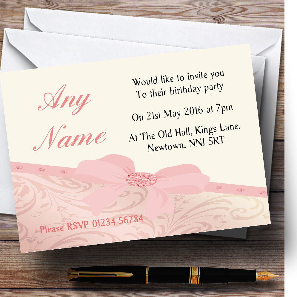 Classic Peach Pale Coral Bow Birthday Party Personalised Invitations