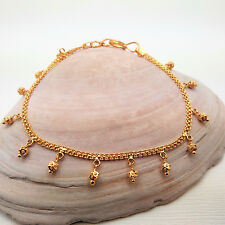 """GOLDSHINE Bracelet 22K 916 Solid Yellow Gold Chain with Danglers 7"""" Hook Closure"""