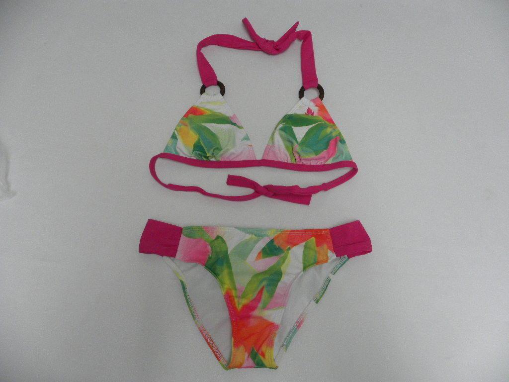 Reef Bikini Size Small Swimwear R2531 Green Pink Low Rise Hip Triangle Top
