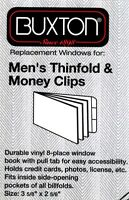 2 Clear Plastic Wallet Inserts 3-5/8 X 2-5/8 Men's Thinfold & Money Clips