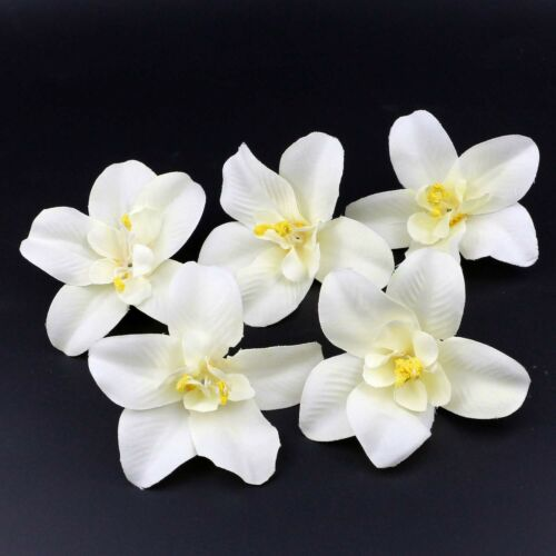 10//100 White Artificial Orchid Heads Flower Silk Bulk Party Wedding Come Hot Buy