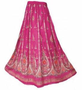 colore Sequin Boho Skirt Hippie Indian Rayon Ladies in Long rosa H8xURAwq