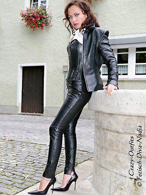 Lederhose Leder Hose Knalleng Schwarz Größe 32 - 58 XS - XXXL