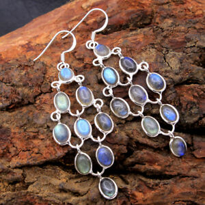 ae3635 Natural Spectrolite Labradorite Round Gemstone Dangle Earring 925 Sterling Silver Handmade Designer Dangle Earrings Length 1.2