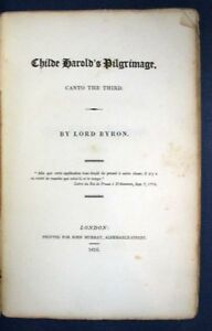 Lord-Byron-CHILDE-HAROLD-039-s-PILGRIMAGE-Canto-the-Third-First-Edition-1816