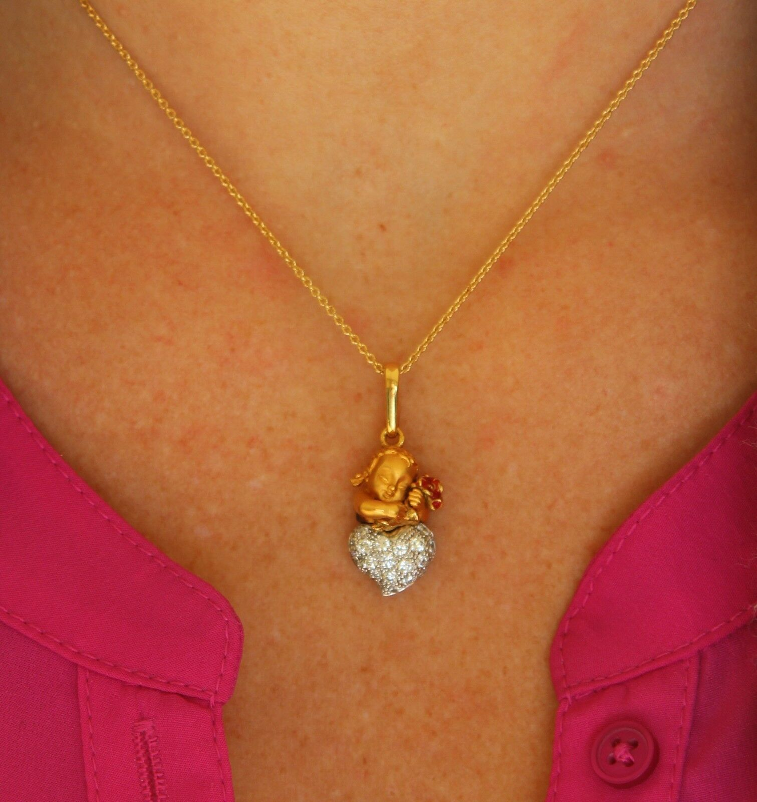 Magerit- 18k.Yellow gold, Pave Diamond & Enamel Cupid Heart Pendant and Chain