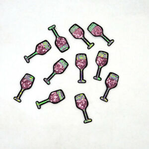 2x-Glitter-Wine-Glass-Juice-Cup-Sequins-Embroidery-Iron-On-Patch-Badges-Applique