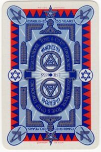 Playing-Cards-1-Single-Card-Old-TOYE-MASONIC-SYMBOLS-Freemasons-Advertising-Art