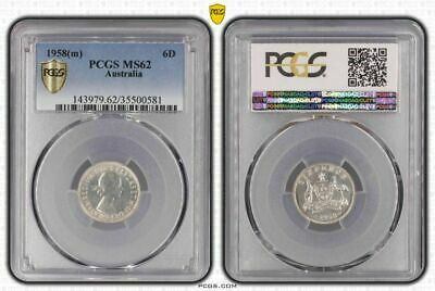 1958 (m) Australia 6 Pence Bu Pcgs Ms62 Old Coin In High Grade Bringing More Convenience To The People In Their Daily Life