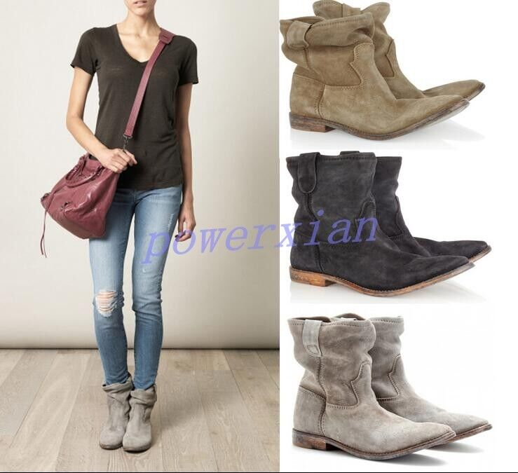 Womens Ankle Boot Pull On Vintage Roma Slouch Leather Casual Flat Shoe All AU Sz