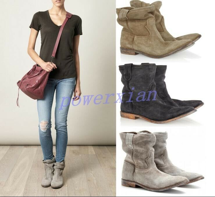 Womens Ankle Boot Pull On Vintage Roma Slouch Leather Casual Flat shoes All Uk Sz