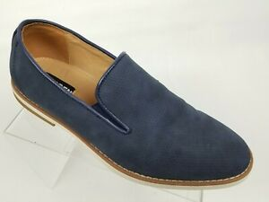 511101ec7ae Details about Steve Madden Feathr Mens Loafers Blue Perforated Nubuck Sz  8.5 M