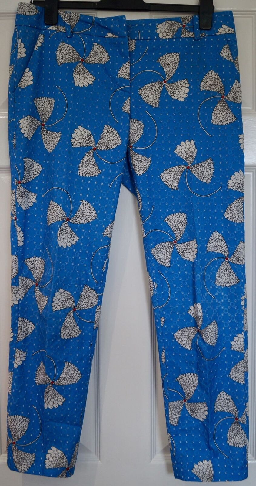 PAUL & JOE Royal bluee Cotton Floral Print Tapered Capri Crop Trousers Pants UK14