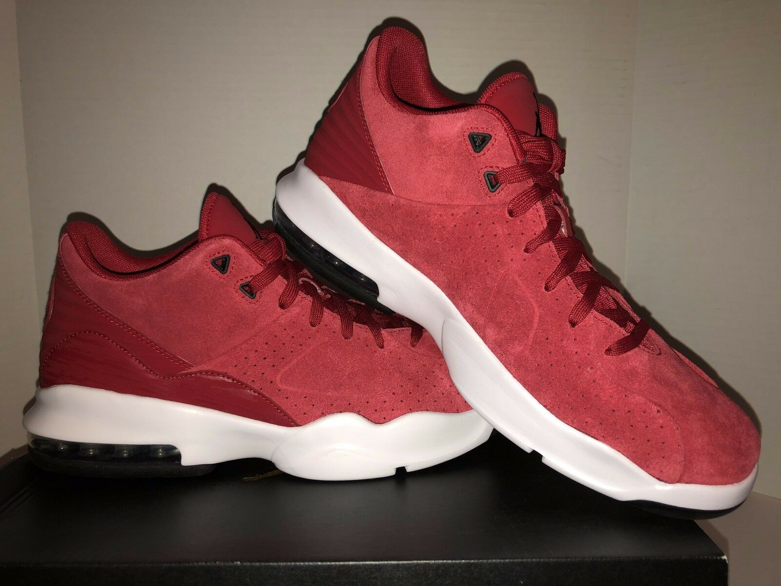Men's New Jordan Air Franchise Red Basketball Shoes with White and Black Trim