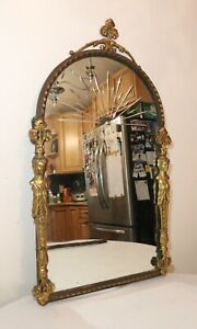 antique-ornate-1800-039-s-Victorian-gold-gilt-cast-iron-figural-wall-mirror-O-Bach