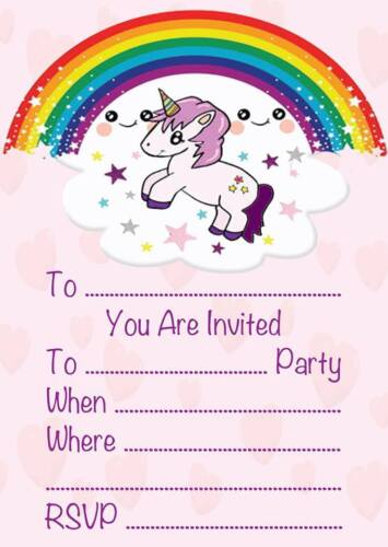 CHILDRENS UNICORN THEME BIRTHDAY PARTY INVITATIONS KIDS INVITES PINK GIRLS