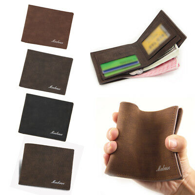 Mens Luxury Leather Trifold Wallet Credit//ID Card Coin Holder Purse Slim Wallet