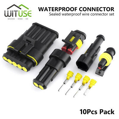 5pcs 1//2//3//5//6 Pin Way 12A Sealed Car  Waterproof Electrical Wire Connector Plug