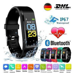 Smartwatch Bluetooth Damen Herren Armband Fitness Tracker Sportuhr IP67 Uhr DE