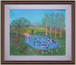 Arte naif laghetto aironi anatre olio tela j colonna ebay for Laghetto per anatre