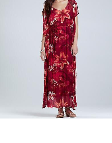 Lucky Brand Maya Tropical Caftan Maxi Dress Größe Medium NWT Rosa Multi Farbe