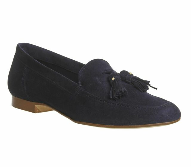 low cost great fit many styles Womens Office Retro Tassel Loafers Navy Suede Flats for sale