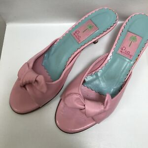 cc0bca16853c02 Lilly Pulitzer Women's Sandals Slides Pink Leather Bow Round toe ...