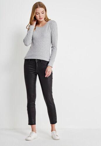 NWT GAP 1969 Inner Cozy Legging in Black Orbit Coated Side Snap Stretch Jeans 29