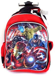 Marvel-Comics-Avengers-Age-Of-Ultron-Boy-039-s-Trolley-Backpack-Book-Bag-14-034-x12-034-NWT