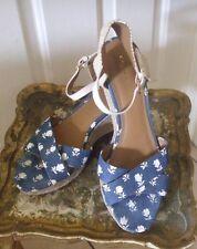 Coach Sz 10 Espadrilles Denim Cloth Floral Pattern Ankle Strap Women's Shoes