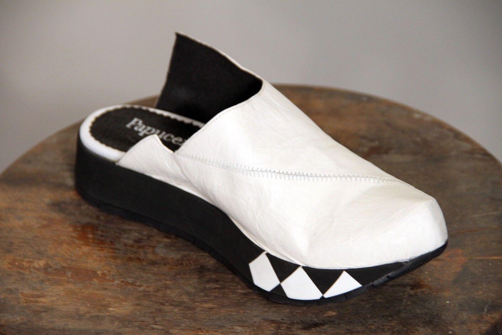 NEW - PAPUCEI - TAMARA MULE SLIP-ON SHOE - WHITE LEATHER - SIZES 38, 40