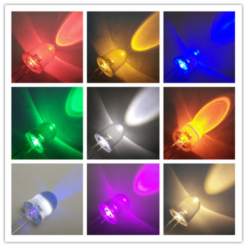 10mm Round Top Red Yellow Blue Green Warm White Orange UV Pink Water Clear Leds