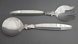 Viking-Plate-Silver-Plate-EP-Brass-Made-In-Canada-Set-of-Salad-Servers