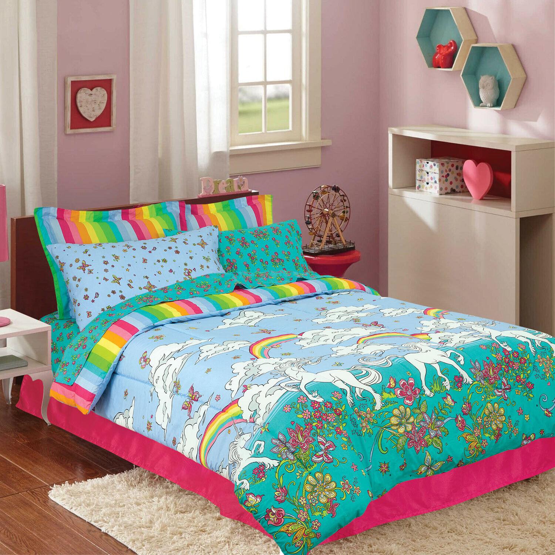 Kids Teen Comforter Set Full Twin Unicorn Floral Teal Blue Pink Striped  Bedding