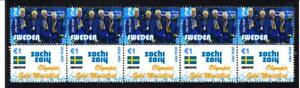 2014-SOCHI-OLYMPIC-GOLD-STRIP-OF-10-MINT-STAMPS-SWEDEN-CROSS-COUNTRY-SKI-TEAM