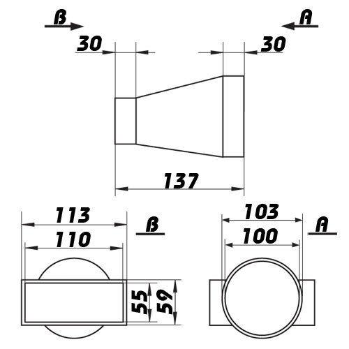Übergangsstück, Adapter rund / rechteckig, Lüftungsrohr, Abluftrohr, Flachkanal