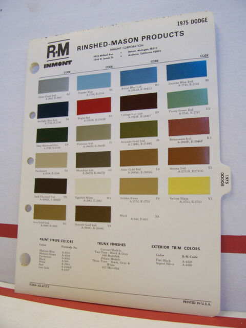 1975 Dodge Dart Monaco Coronet Colt Charger Paint Chips