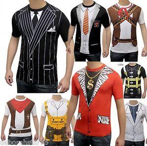 Mens-Instant-Gangster-Schoolboy-Pimp-Cowboy-Fancy-Dress-Costume-Fun-T-SHIRT